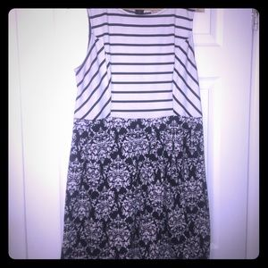 Black and white stripe and damask dress